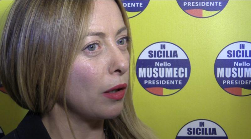 """Elezioni Sicilia, Meloni (Fratelli d'Italia): """"Noi unico argine all'odio distruttivo dei M5S"""""""