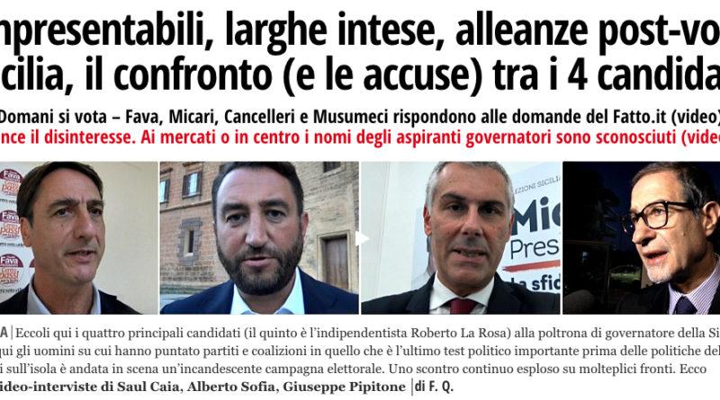 Elezioni Sicilia, confronto tra i 4 candidati alla presidenza